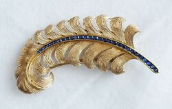 14K Yellow Gold Feather Scarf Pin with Beautiful Blue Sapphires (07925)