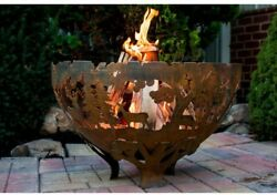 Fire Place Pit Wood Burning Outdoor Patio Backyard Deck Rustic Forest Sihouette