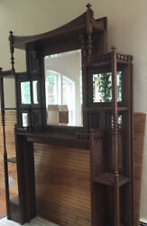 Antique American Carved Oak Overmantle Fireplace AestheticEastlake Style 1890s