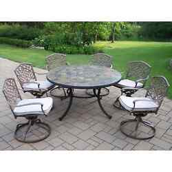 Oakland Living Stone Art Mississippi 7-Piece Outdoor Swivel Chair Dining Set
