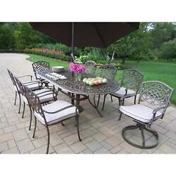 Oakland Living Mississippi 9-Piece Outdoor Dining Set with Swivel Chairs and