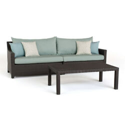 RST Brands Deco Spa Blue Outdoor Wicker Sofa and Coffee Table Set