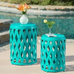 Ellen Nestable Outdoor Small and Large Iron Side Table Set Set of 2 $120.03