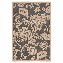 Trans Ocean Terrace Charcoal Floral Outdoor Rug TER45177977 3-ft 3-in x 4-ft