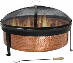 Backyard outdoor Hammered Copper Wood Burning Fire Pit and Screen - 30 Inch Wide