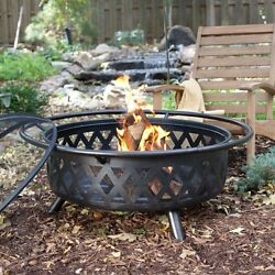 Outdoor Fire Pit Wood Burning 34 Inch Cover Tool Portable Patio Backyard Bronze