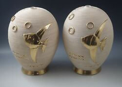 MID CENTURY MODERN MADE IN FRANCE POTTERY 2 pair LAMPS FISH SEA LIFE $150.00