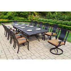 Oakland Living Vanguard 13-Piece Outdoor Dining Set with Swivel Chairs