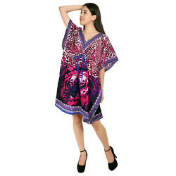 Tiger Print Pattern Short Women#x27;s Kaftan Night wear Dress Maxi For Ladies $8.49