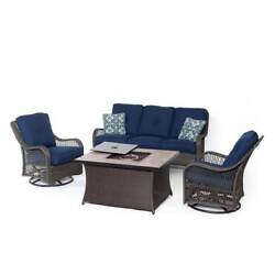 Hanover Outdoor Furniture Orleans 4-Piece Woven Fire Pit Lounge Set