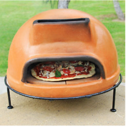 Rustic Liso Clay Pizza Oven Wood Burning wStand Outdoor Cooking Patio Home New