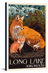 Long Lake NY Adirondacks Fox & Kit LP Artwork (16x24 Stretch Canvas)