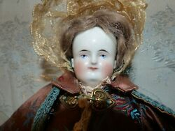 16quot; Alt Beck G Antique Biedermeier Bald China Head Doll Bonnet orig wig dress $500.00
