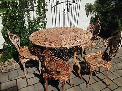 Garden Outdoor Patio Table + 4 Chairs Set Heavy Solid Iron 39