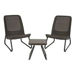 Patio Table And Chair Set 3 Piece Outdoor Garden Porch Furniture Brown Lounge