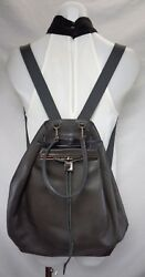 THE ROW Dark Gray Brown Leather Drawstring Backpack Bag Purse
