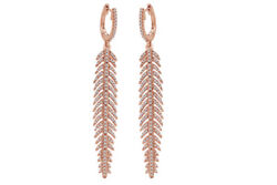 1.28 Ct Round Cut DVVS1 Feather Dangle Earrings In 14K Rose Gold