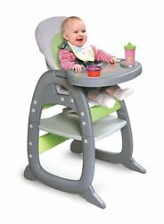 Baby High Chair Adjustable Reclining Seat Feeding Tray Plastic Gray Play Table
