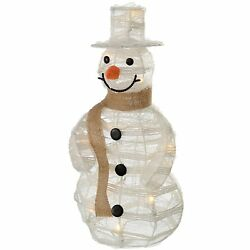 WeRChristmas Pre-Lit Paper String and Gauze Snowman with 10 Warm LED Lights 40