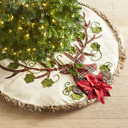 Christmas Tree Skirt Rustic Cabin Lodge Deer Woodland Decoration Holiday