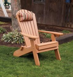 A&L Furniture Amish-Made Folding Poly Adirondack Chairs w Ottoman in 13 Colors