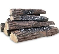 Ceramic Wood Large Gas Fireplace Logs Indoor Outdoor Ventles Fire Pits 10 Pc Set