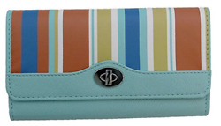 Kenneth Cole Reaction Clutches: Blue & Red Floral Striped Tried & True Wallets