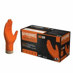 1000 cs GLOVEWORKS HD 8 Mil GWON Latex Free Nitrile Disposable Gloves Orange
