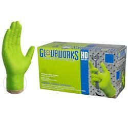 100 GLOVEWORKS Green Nitrile Industrial Latex Free Disposable Gloves Non Vinyl