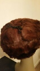 Russian Authentic Unisex Mink Ear Flap Hat Brown Red 22quot; round soft and warm. $75.00