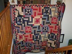 Home made quilt usedredblue and muslin. 87