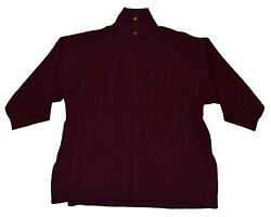 Polo Ralph Lauren Black Label Cashmere Cable Cardigan Shawl Sweater Maroon Red