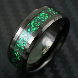 8mm Black Tungsten Men's Ring Green Carbon Fiber Celtic Dragon Wedding Band TW