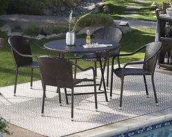 Patio Dining Set Brown Wicker 5pc Outdoor Furniture Folding Table Stack Chairs