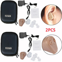 2Pack Rechargeable Digital Mini In Ear Hearing Aid Adjustable Tone Amplifier $42.99