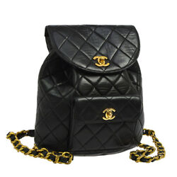 Auth CHANEL Quilted CC Logos Chain Backpack Bag Black Leather Vintage A35554