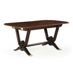 French Art Deco Period Rosewood Brass and Mahogany Antique Dining Table c. 1930
