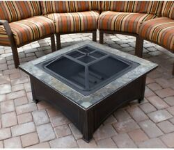 Square Slate Top Wood Burning Fire Pit Outdoor Cooking Steel Antique Black