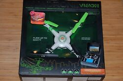quadrone drone vision 6 axis gyro 2.4ghz 4 channel wireless 500#x27; video camera $69.95