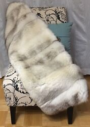 WHT GENUINE FOX FUR STOLE WRAP HOME DECOR BED COUCH THROW BLANKET RUG LOG CABIN