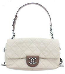 CHANEL Beige Quilted Calfskin Leather Country Chic Flap Bag