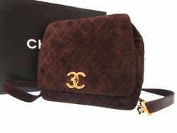 AUTHENTIC CHANEL Vintage CC Mark Backpack daypack Brown Suede Leather 0376