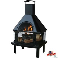 Uniflame Outdoor Wood Burning Fire Place Capped chimney on top for Xmas