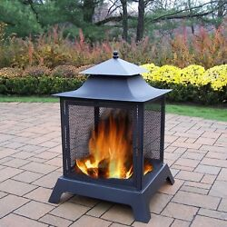 Outdoor Black Iron Fire Pit Wood Burning Heater Chiminea Patio Backyard Screens