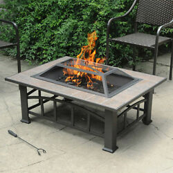 Fire Pit Table Wood Burning Tile Steel Deck Brownish Bronze Patio Modern Outdoor