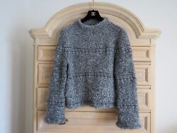CHANEL Gray White Cashmere Wool Angora Chunky Knit Over Sized Sweater Top 364