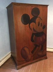 AWESOME Mickey Mouse Wooden Entertainment Center  TV Armoire & Coffee Table 1