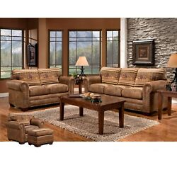 Rustic Country New Patterned Faux Wild Horses Lodge 4-Piece Living Room Set!