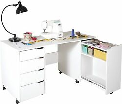 Craft Storage Cart Furniture Sewing Machine Cabinet Supply Tables with Wheels
