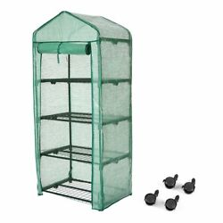 Finether 4-Tier Greenhouse with Clear Cover and Casters Portable Garden